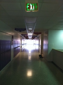 "This is the hallway I've trodden for almost 15 years.  Sometimes I wonder if the ""Exit"" sign should come with a ""?"""